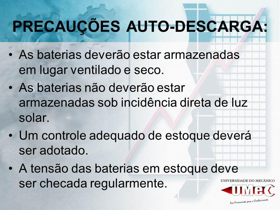 PRECAUÇÕES AUTO-DESCARGA: