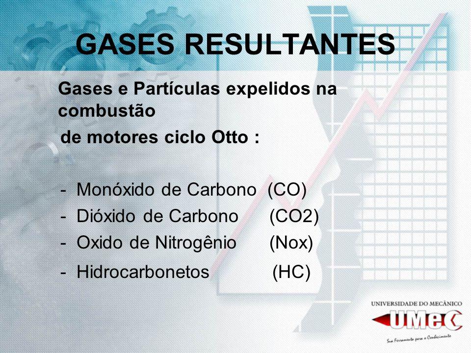 GASES RESULTANTES Gases e Partículas expelidos na combustão
