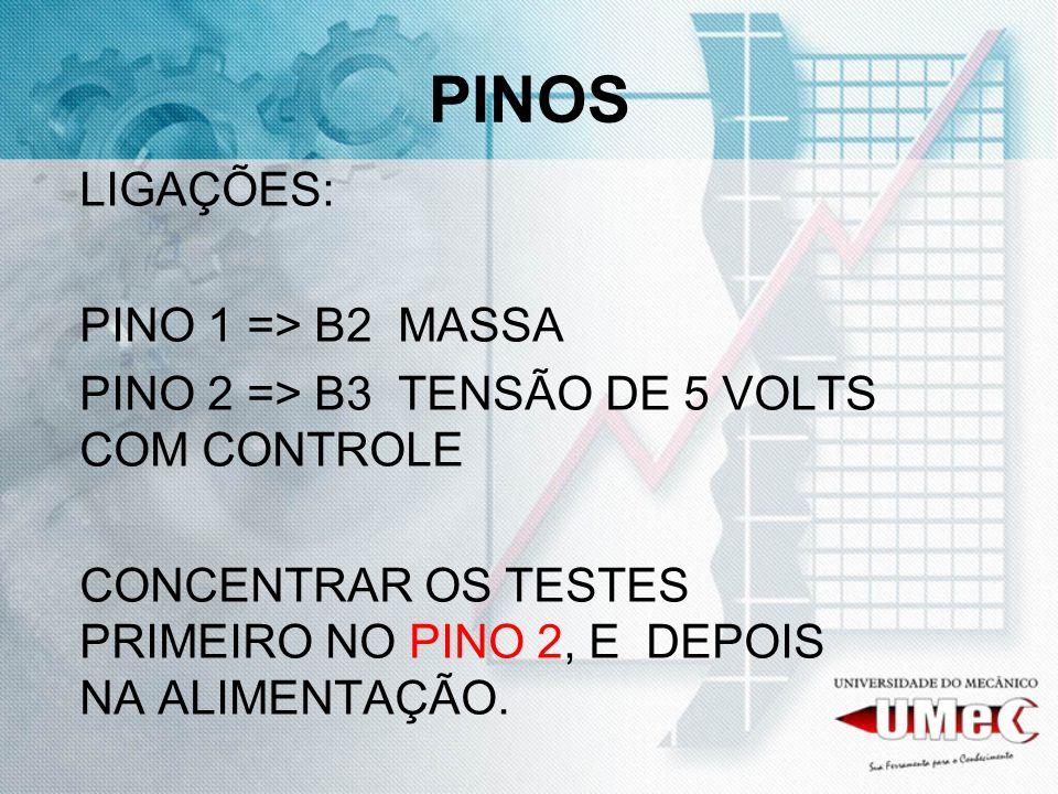 PINOS LIGAÇÕES: PINO 1 => B2 MASSA