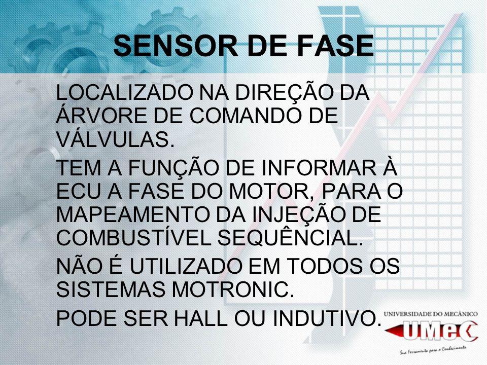 SENSOR DE FASE LOCALIZADO NA DIREÇÃO DA ÁRVORE DE COMANDO DE VÁLVULAS.