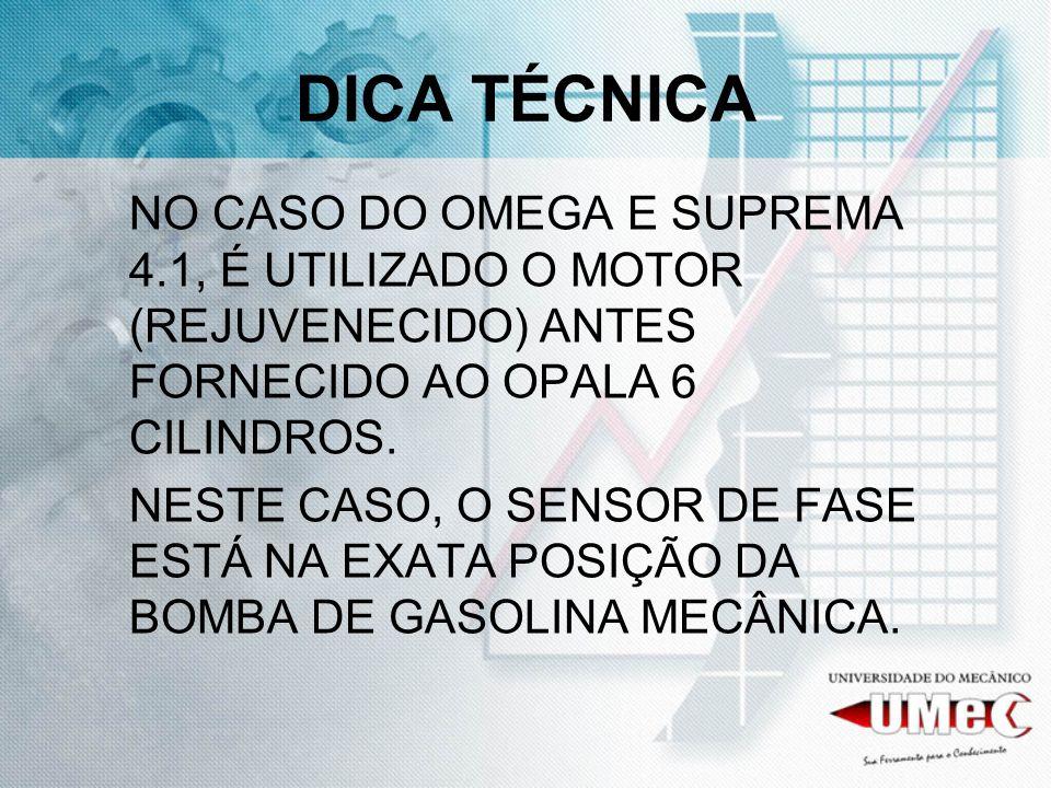 DICA TÉCNICA NO CASO DO OMEGA E SUPREMA 4.1, É UTILIZADO O MOTOR (REJUVENECIDO) ANTES FORNECIDO AO OPALA 6 CILINDROS.