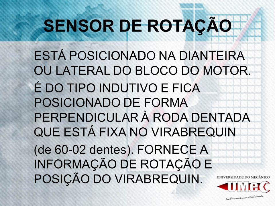 SENSOR DE ROTAÇÃO ESTÁ POSICIONADO NA DIANTEIRA OU LATERAL DO BLOCO DO MOTOR.