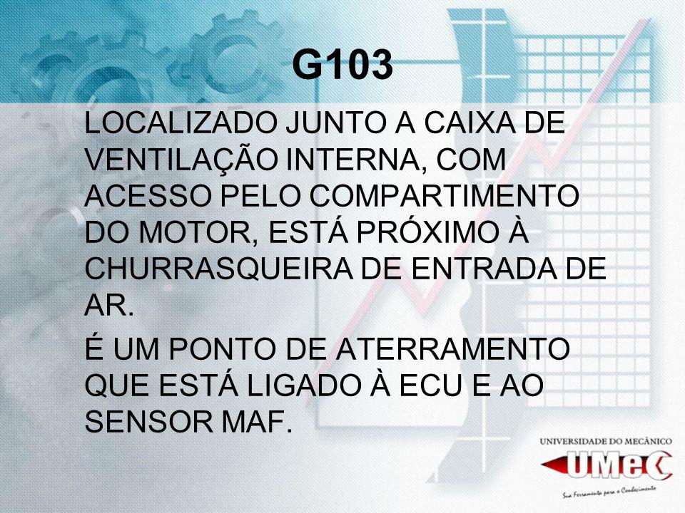 G103LOCALIZADO JUNTO A CAIXA DE VENTILAÇÃO INTERNA, COM ACESSO PELO COMPARTIMENTO DO MOTOR, ESTÁ PRÓXIMO À CHURRASQUEIRA DE ENTRADA DE AR.