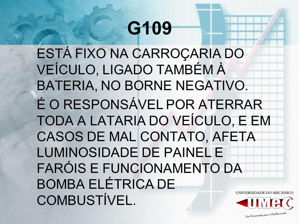 G109ESTÁ FIXO NA CARROÇARIA DO VEÍCULO, LIGADO TAMBÉM À BATERIA, NO BORNE NEGATIVO.