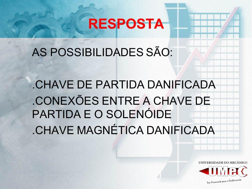 RESPOSTA AS POSSIBILIDADES SÃO: .CHAVE DE PARTIDA DANIFICADA
