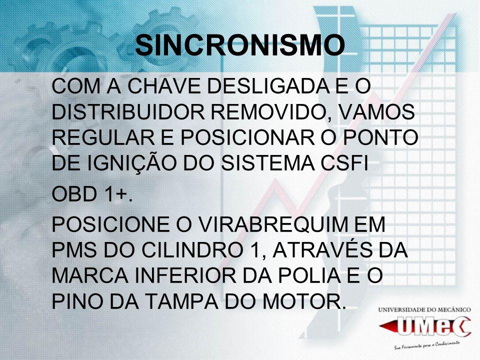 SINCRONISMOCOM A CHAVE DESLIGADA E O DISTRIBUIDOR REMOVIDO, VAMOS REGULAR E POSICIONAR O PONTO DE IGNIÇÃO DO SISTEMA CSFI.