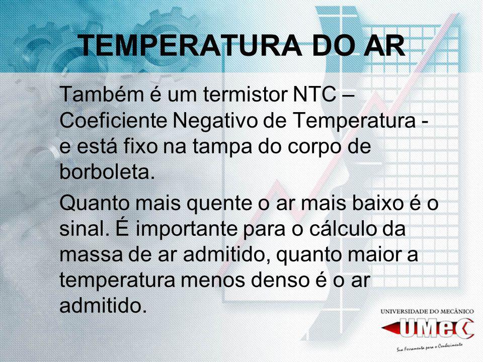 TEMPERATURA DO AR Também é um termistor NTC – Coeficiente Negativo de Temperatura - e está fixo na tampa do corpo de borboleta.