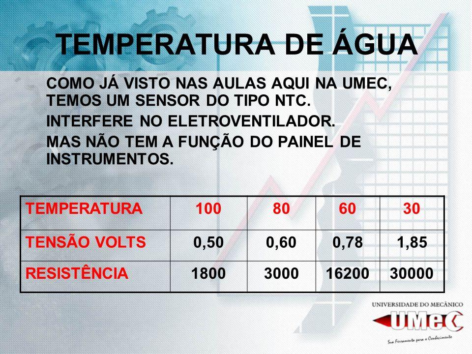 TEMPERATURA DE ÁGUACOMO JÁ VISTO NAS AULAS AQUI NA UMEC, TEMOS UM SENSOR DO TIPO NTC. INTERFERE NO ELETROVENTILADOR.