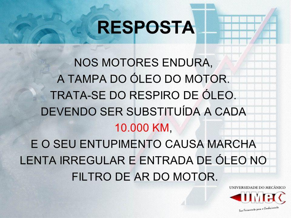 RESPOSTA NOS MOTORES ENDURA, A TAMPA DO ÓLEO DO MOTOR.