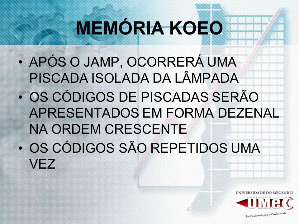MEMÓRIA KOEO APÓS O JAMP, OCORRERÁ UMA PISCADA ISOLADA DA LÂMPADA