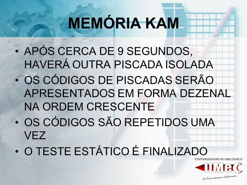 MEMÓRIA KAM APÓS CERCA DE 9 SEGUNDOS, HAVERÁ OUTRA PISCADA ISOLADA