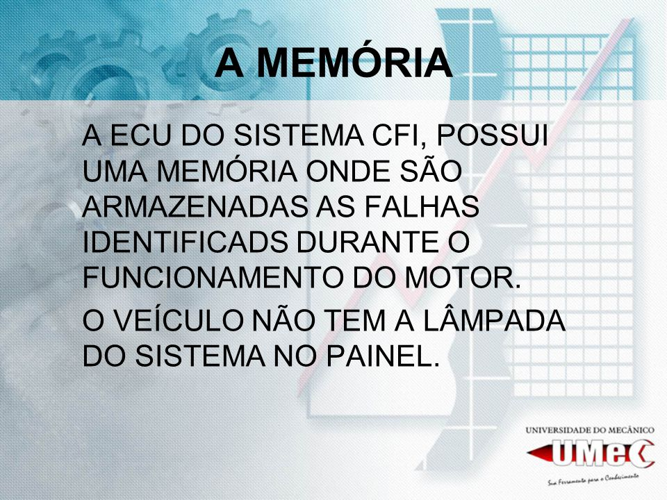 A MEMÓRIA A ECU DO SISTEMA CFI, POSSUI UMA MEMÓRIA ONDE SÃO ARMAZENADAS AS FALHAS IDENTIFICADS DURANTE O FUNCIONAMENTO DO MOTOR.