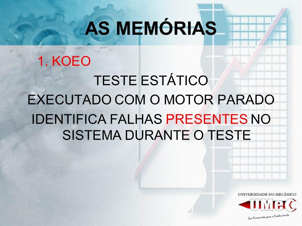 AS MEMÓRIAS 1. KOEO TESTE ESTÁTICO EXECUTADO COM O MOTOR PARADO