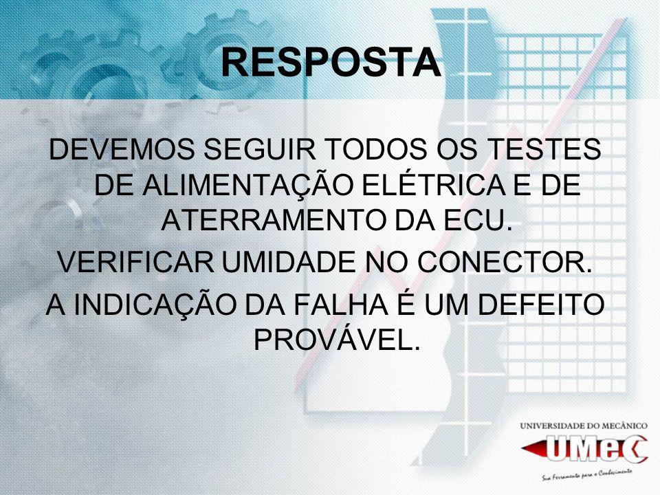 RESPOSTA DEVEMOS SEGUIR TODOS OS TESTES DE ALIMENTAÇÃO ELÉTRICA E DE ATERRAMENTO DA ECU. VERIFICAR UMIDADE NO CONECTOR.