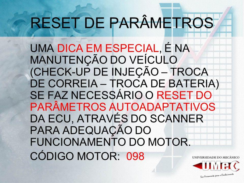 RESET DE PARÂMETROS
