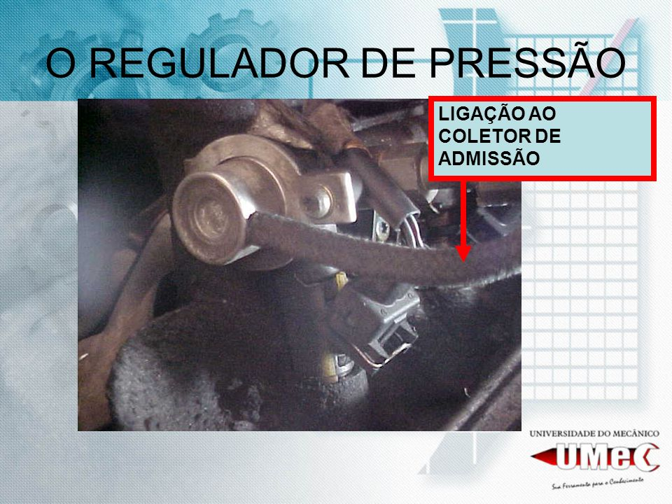 O REGULADOR DE PRESSÃO LIGAÇÃO AO COLETOR DE ADMISSÃO