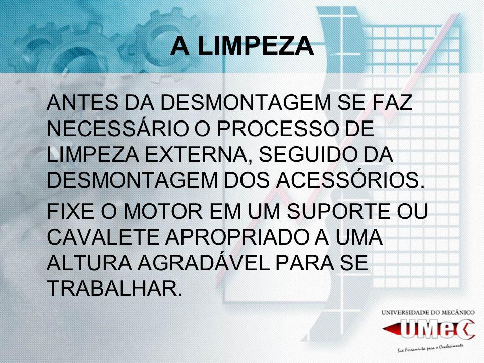 A LIMPEZA ANTES DA DESMONTAGEM SE FAZ NECESSÁRIO O PROCESSO DE LIMPEZA EXTERNA, SEGUIDO DA DESMONTAGEM DOS ACESSÓRIOS.