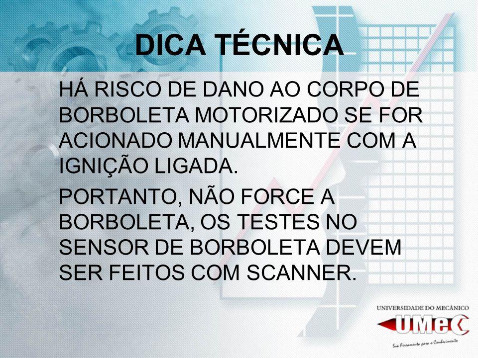 DICA TÉCNICA HÁ RISCO DE DANO AO CORPO DE BORBOLETA MOTORIZADO SE FOR ACIONADO MANUALMENTE COM A IGNIÇÃO LIGADA.