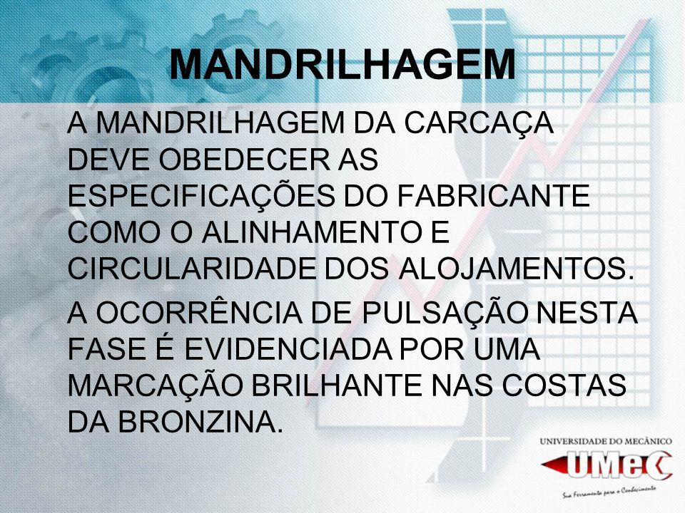 MANDRILHAGEM A MANDRILHAGEM DA CARCAÇA DEVE OBEDECER AS ESPECIFICAÇÕES DO FABRICANTE COMO O ALINHAMENTO E CIRCULARIDADE DOS ALOJAMENTOS.