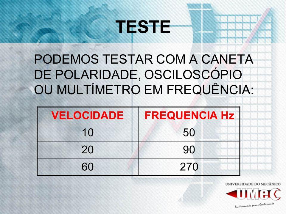 TESTE PODEMOS TESTAR COM A CANETA DE POLARIDADE, OSCILOSCÓPIO OU MULTÍMETRO EM FREQUÊNCIA: VELOCIDADE.