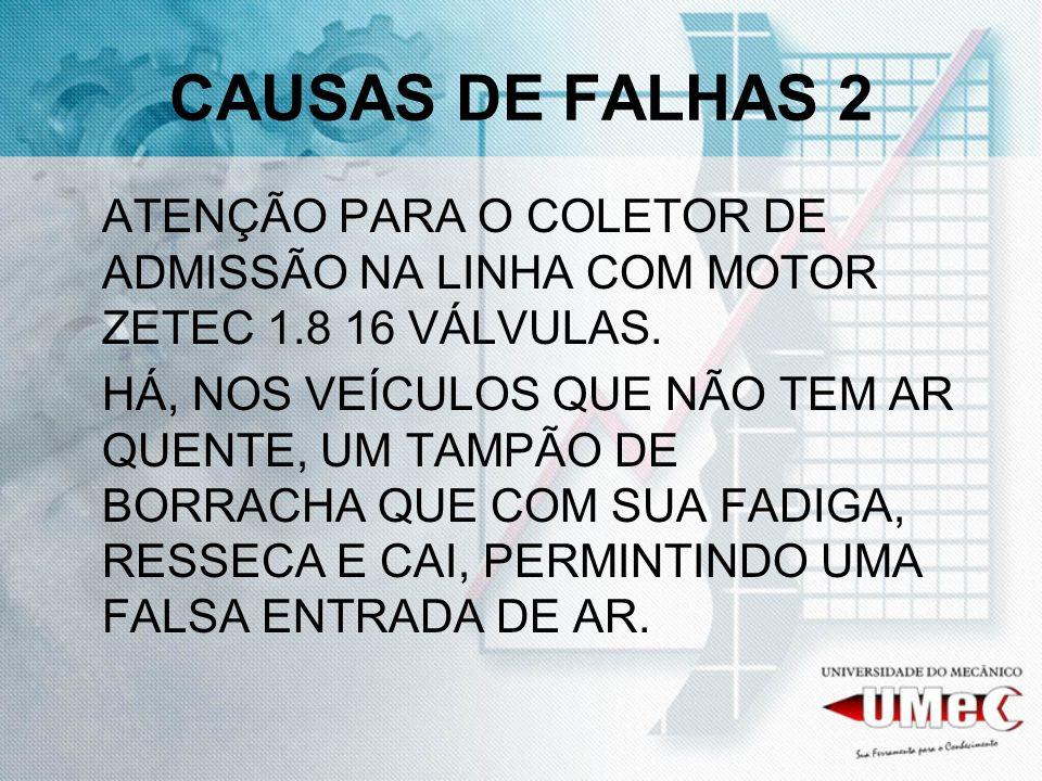 CAUSAS DE FALHAS 2 ATENÇÃO PARA O COLETOR DE ADMISSÃO NA LINHA COM MOTOR ZETEC 1.8 16 VÁLVULAS.