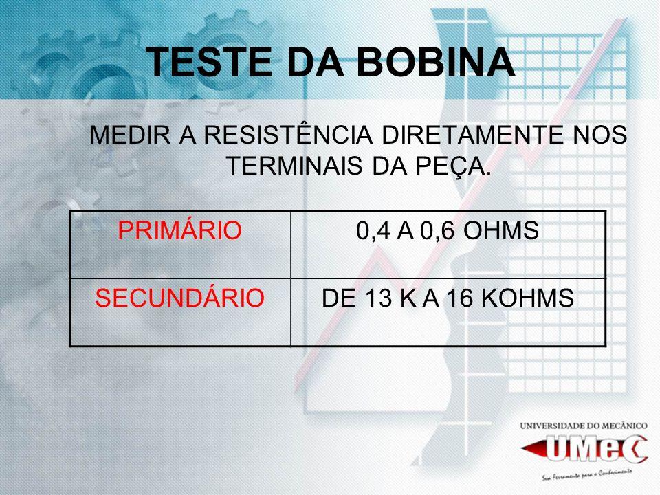 MEDIR A RESISTÊNCIA DIRETAMENTE NOS TERMINAIS DA PEÇA.