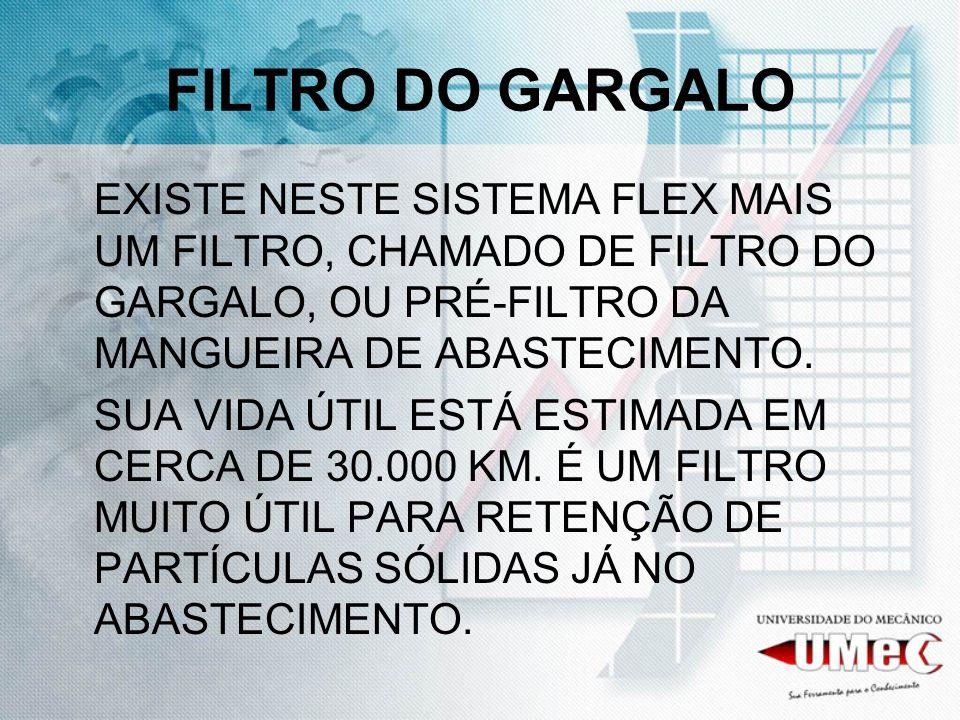 FILTRO DO GARGALO EXISTE NESTE SISTEMA FLEX MAIS UM FILTRO, CHAMADO DE FILTRO DO GARGALO, OU PRÉ-FILTRO DA MANGUEIRA DE ABASTECIMENTO.