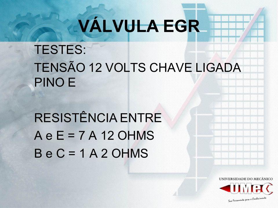 VÁLVULA EGR TESTES: TENSÃO 12 VOLTS CHAVE LIGADA PINO E