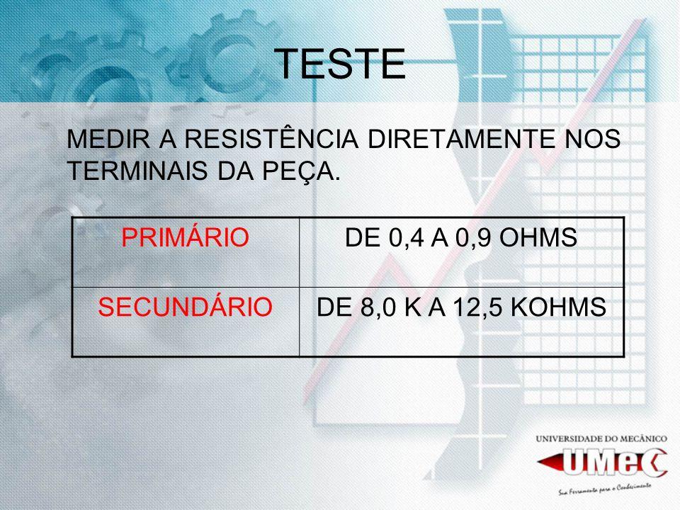 TESTE MEDIR A RESISTÊNCIA DIRETAMENTE NOS TERMINAIS DA PEÇA. PRIMÁRIO