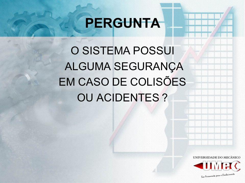 PERGUNTA O SISTEMA POSSUI ALGUMA SEGURANÇA EM CASO DE COLISÕES