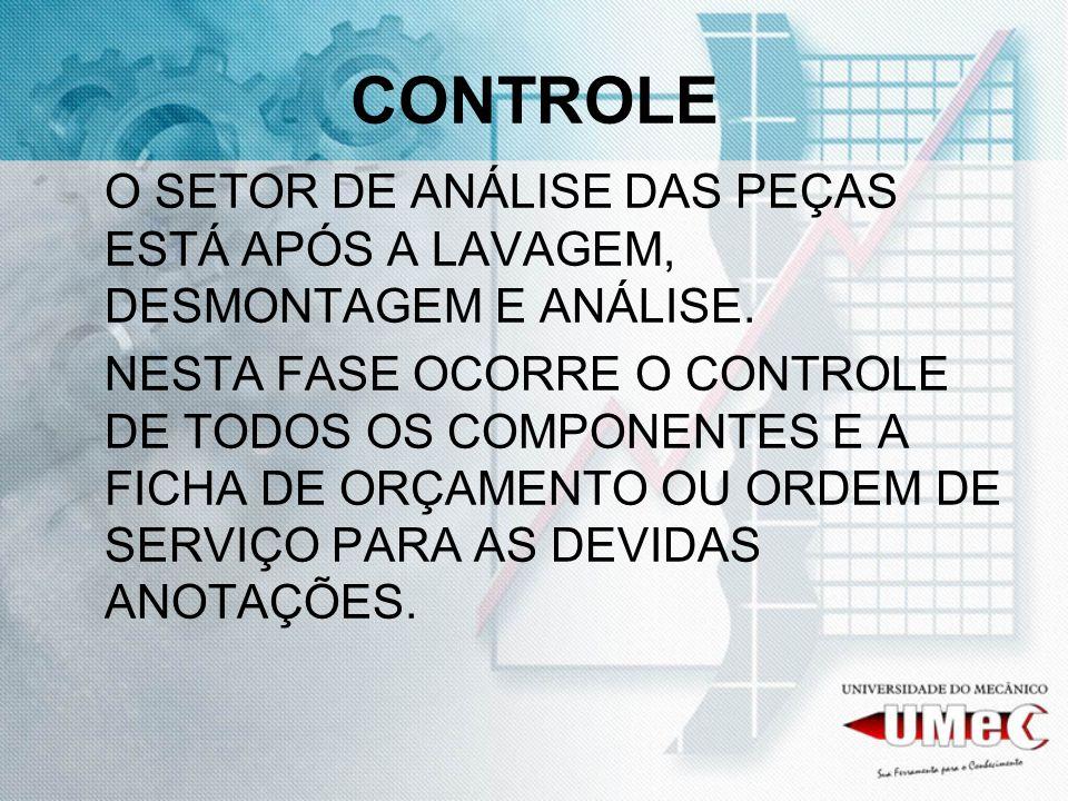 CONTROLEO SETOR DE ANÁLISE DAS PEÇAS ESTÁ APÓS A LAVAGEM, DESMONTAGEM E ANÁLISE.
