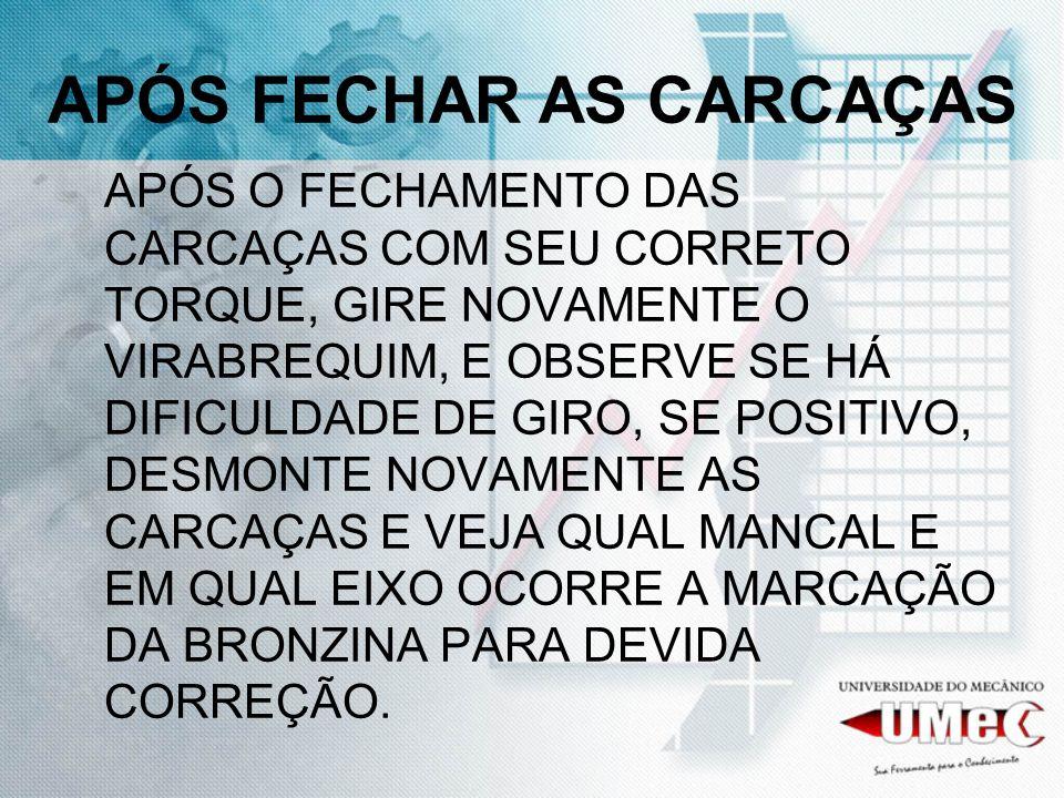APÓS FECHAR AS CARCAÇAS
