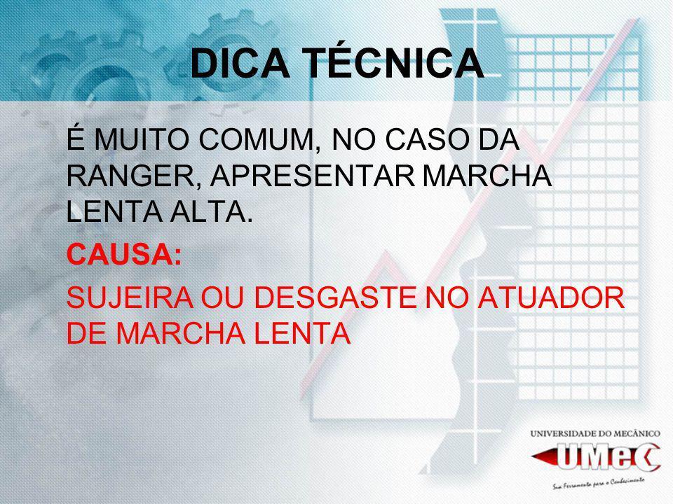DICA TÉCNICAÉ MUITO COMUM, NO CASO DA RANGER, APRESENTAR MARCHA LENTA ALTA.