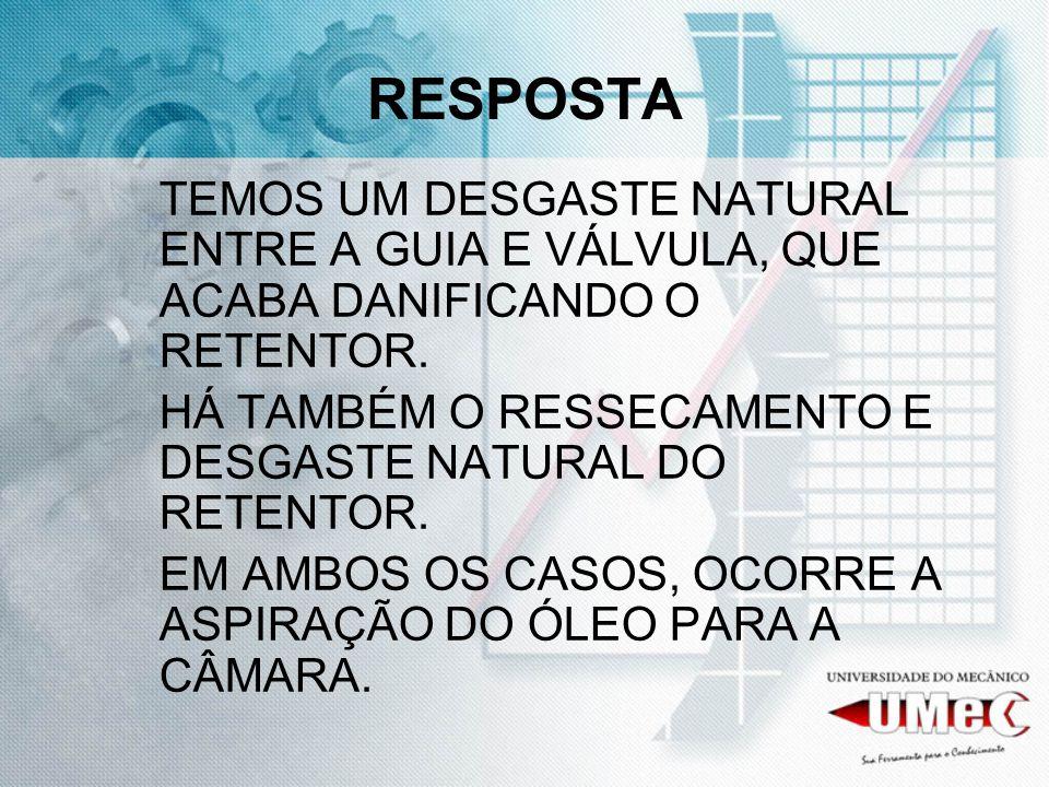 RESPOSTA TEMOS UM DESGASTE NATURAL ENTRE A GUIA E VÁLVULA, QUE ACABA DANIFICANDO O RETENTOR.