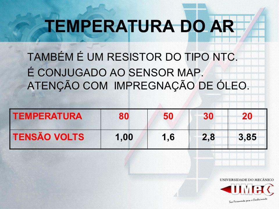 TEMPERATURA DO AR TAMBÉM É UM RESISTOR DO TIPO NTC.