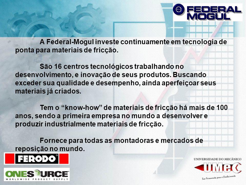 A Federal-Mogul investe continuamente em tecnologia de ponta para materiais de fricção.
