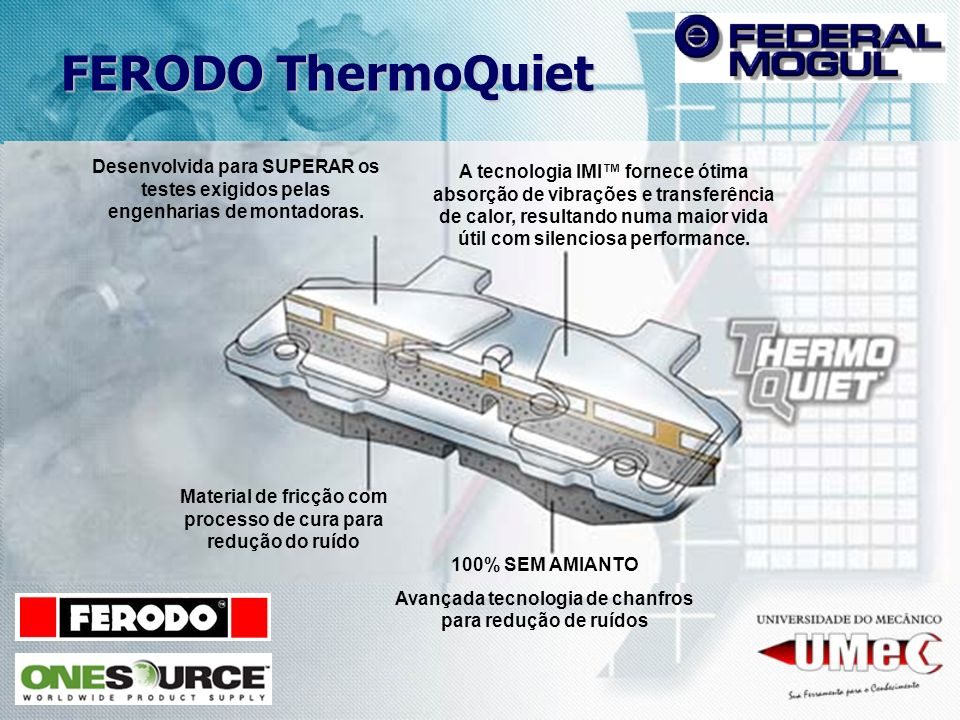 FERODO ThermoQuiet Desenvolvida para SUPERAR os testes exigidos pelas engenharias de montadoras.