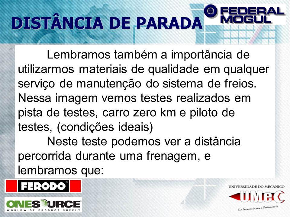 DISTÂNCIA DE PARADA Lembramos também a importância de utilizarmos materiais de qualidade em qualquer serviço de manutenção do sistema de freios.