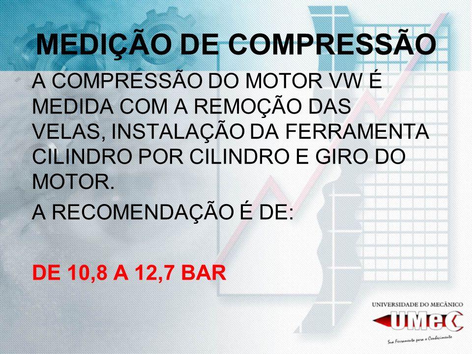MEDIÇÃO DE COMPRESSÃO A COMPRESSÃO DO MOTOR VW É MEDIDA COM A REMOÇÃO DAS VELAS, INSTALAÇÃO DA FERRAMENTA CILINDRO POR CILINDRO E GIRO DO MOTOR.