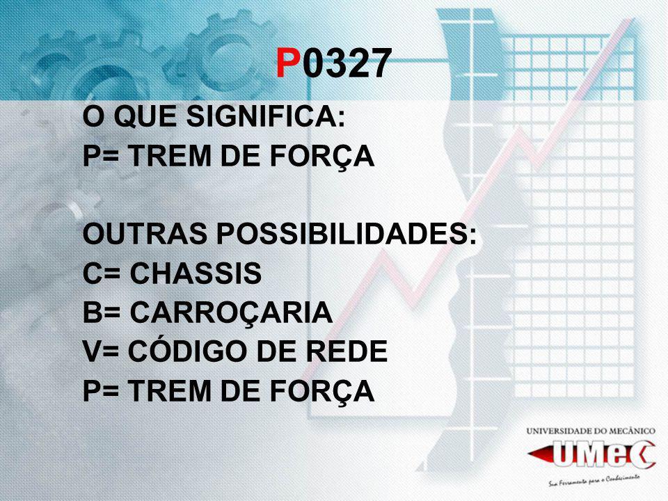 P0327 O QUE SIGNIFICA: P= TREM DE FORÇA OUTRAS POSSIBILIDADES: