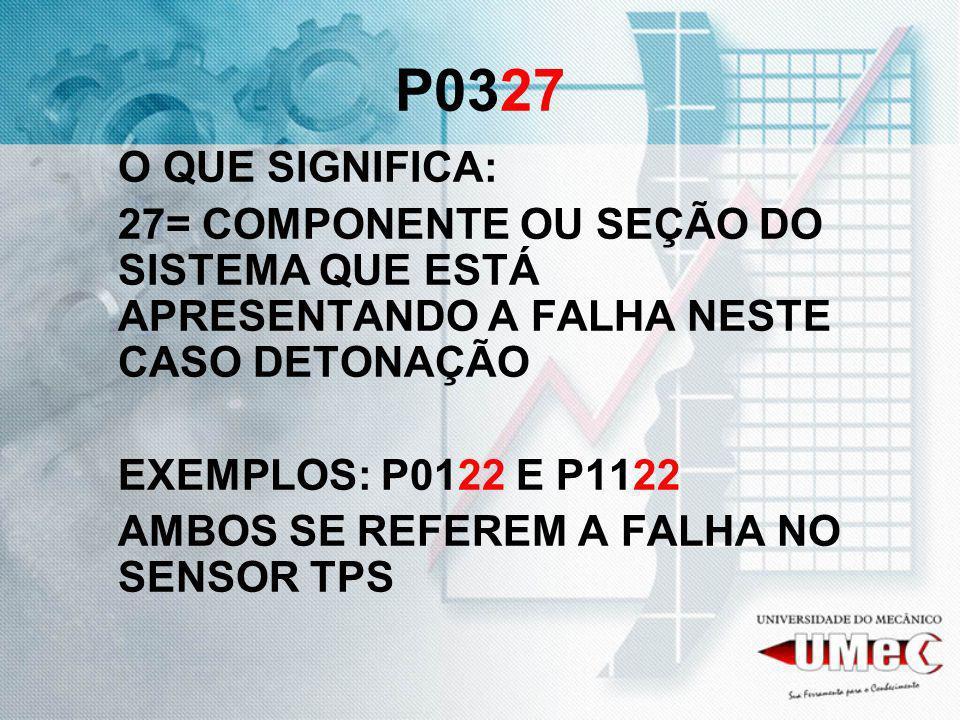 P0327 O QUE SIGNIFICA: 27= COMPONENTE OU SEÇÃO DO SISTEMA QUE ESTÁ APRESENTANDO A FALHA NESTE CASO DETONAÇÃO.