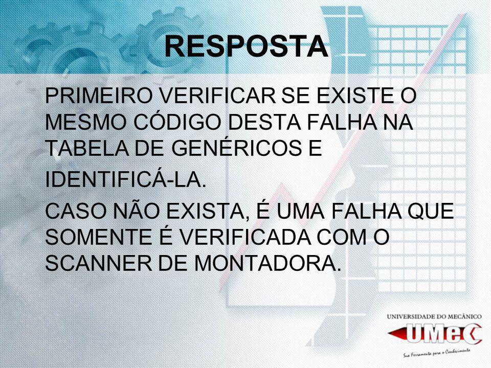 RESPOSTA PRIMEIRO VERIFICAR SE EXISTE O MESMO CÓDIGO DESTA FALHA NA TABELA DE GENÉRICOS E. IDENTIFICÁ-LA.