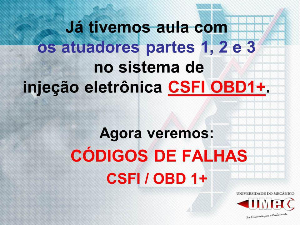 Já tivemos aula com os atuadores partes 1, 2 e 3 no sistema de injeção eletrônica CSFI OBD1+.