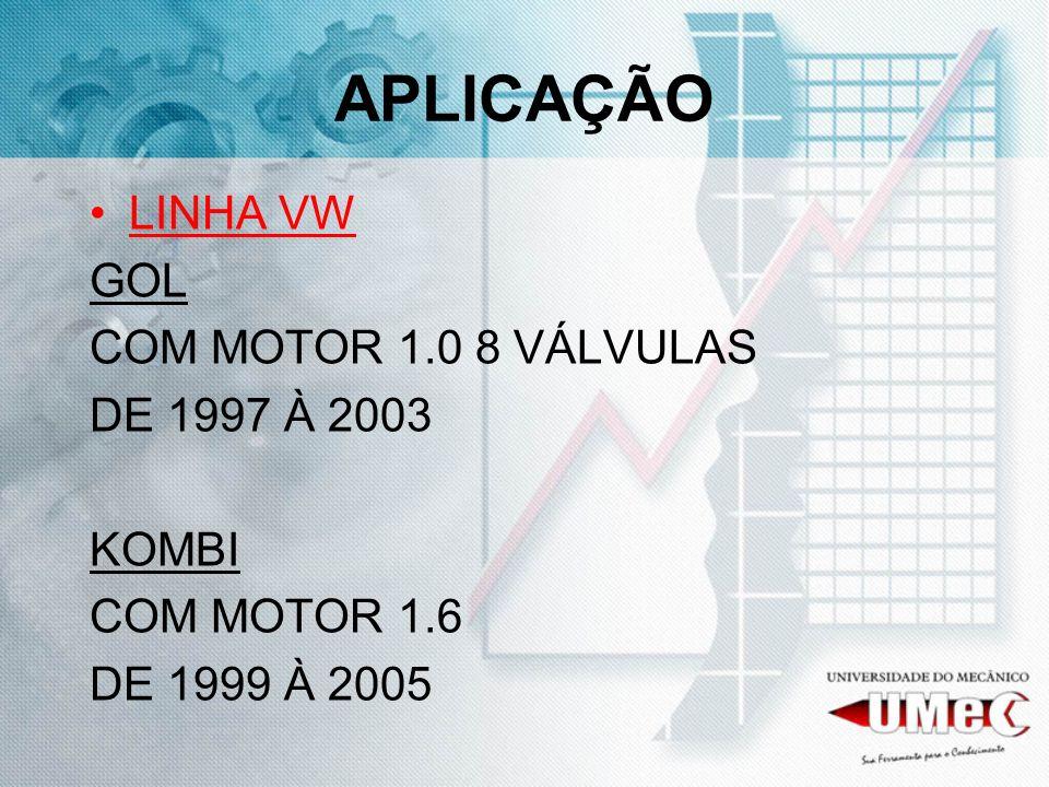 APLICAÇÃO LINHA VW GOL COM MOTOR 1.0 8 VÁLVULAS DE 1997 À 2003 KOMBI