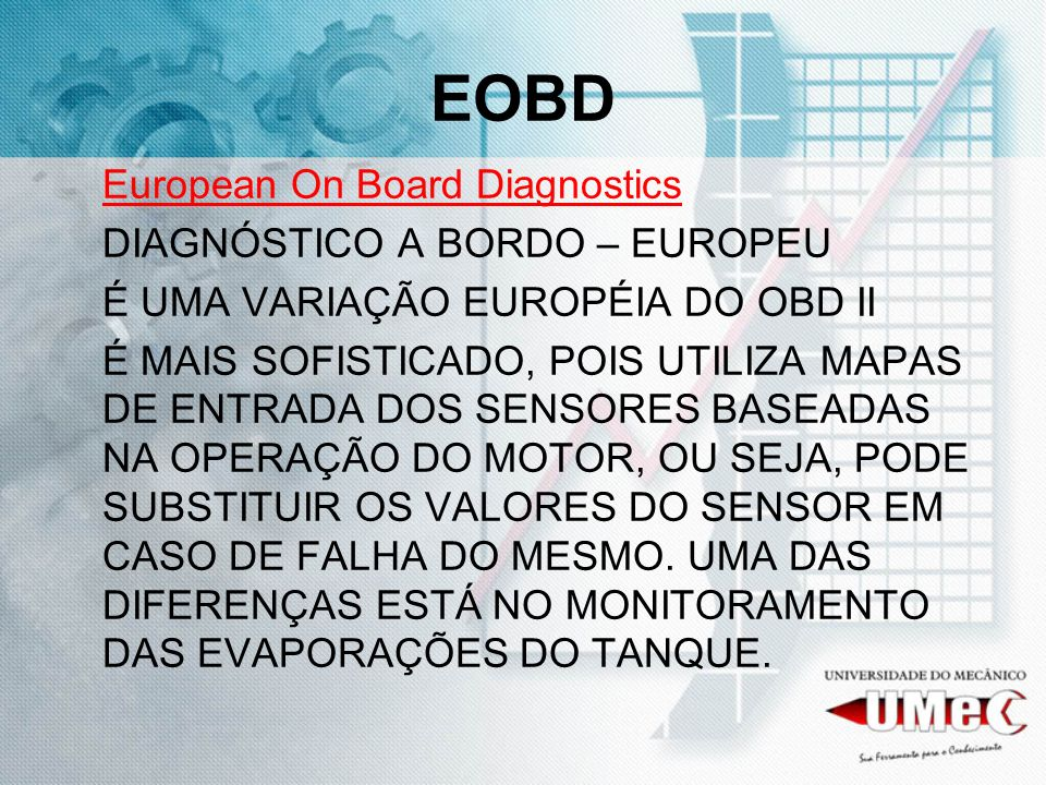 EOBD European On Board Diagnostics DIAGNÓSTICO A BORDO – EUROPEU