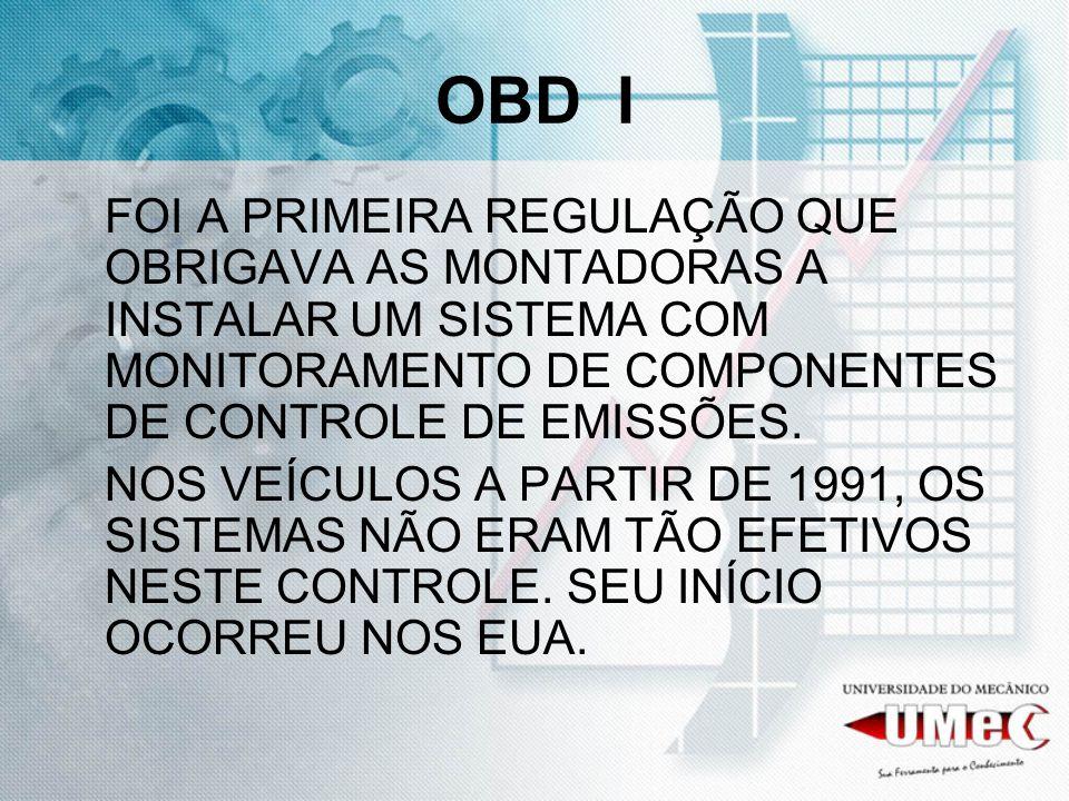 OBD I FOI A PRIMEIRA REGULAÇÃO QUE OBRIGAVA AS MONTADORAS A INSTALAR UM SISTEMA COM MONITORAMENTO DE COMPONENTES DE CONTROLE DE EMISSÕES.