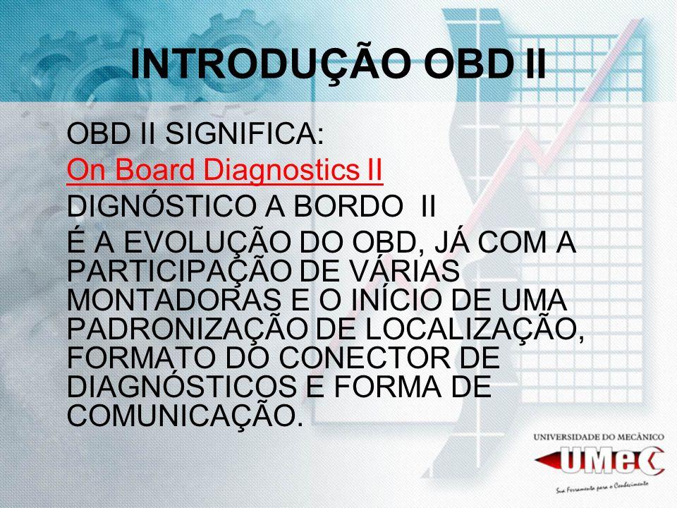 INTRODUÇÃO OBD II On Board Diagnostics II DIGNÓSTICO A BORDO II