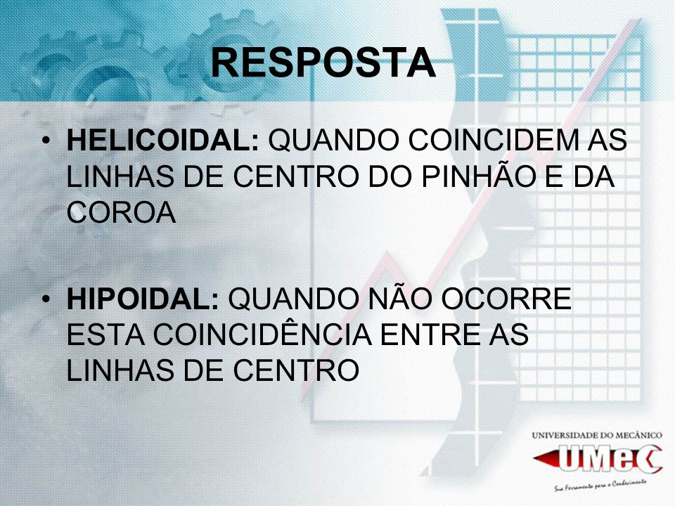 RESPOSTA HELICOIDAL: QUANDO COINCIDEM AS LINHAS DE CENTRO DO PINHÃO E DA COROA.