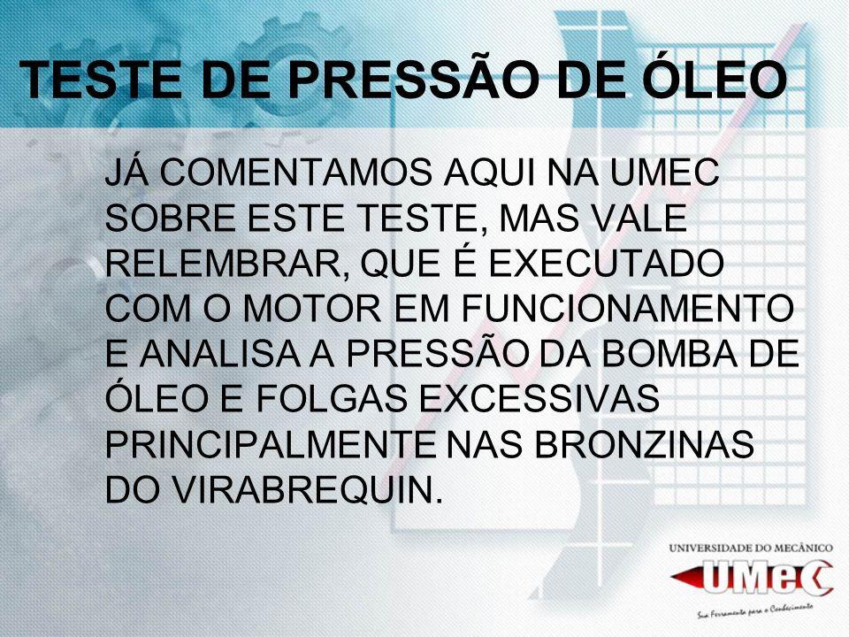 TESTE DE PRESSÃO DE ÓLEO
