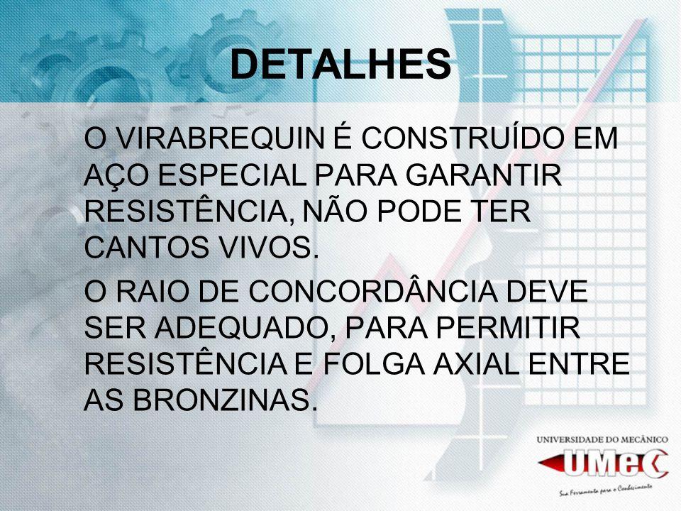DETALHESO VIRABREQUIN É CONSTRUÍDO EM AÇO ESPECIAL PARA GARANTIR RESISTÊNCIA, NÃO PODE TER CANTOS VIVOS.